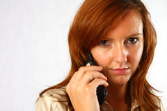 典雅的电话妇女 免版税库存图片