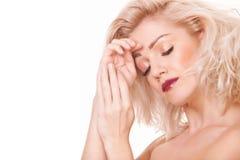典雅的白肤金发的妇女 库存照片