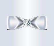 典雅的白色丝绸弓 库存照片