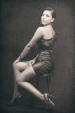 典雅的纵向减速火箭的性感的妇女 库存照片