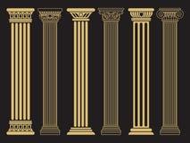 典雅的经典罗马,希腊建筑学线和剪影专栏 皇族释放例证