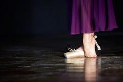 典雅的芭蕾舞女演员在黑暗的背景的演播室摆在低调 库存照片