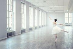 典雅的芭蕾舞女演员跳舞 混合画法 免版税图库摄影