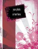 典雅的花卉grunge照片模板 库存照片