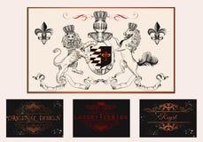 典雅的葡萄酒设计为豪华商标,餐馆,菜单设置了, 免版税库存照片