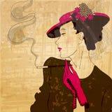 典雅的葡萄酒,时髦的妇女 库存图片