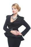 黑典雅的衣服的女商人, 免版税库存图片