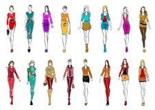 典雅的衣裳的少妇每天样式的 库存例证