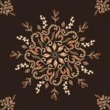 典雅的装饰品向量 圆花卉样式褐色 与东方元素的抽象传统样式 免版税库存照片