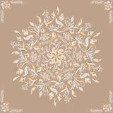 典雅的装饰品 圆花卉样式褐色 与东方元素的抽象传统样式 库存图片