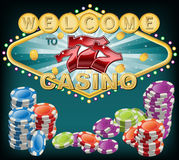 典雅的赌博娱乐场标志 免版税库存照片