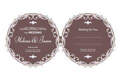 典雅的邀请的葡萄酒圆的两面的明信片对婚礼,棕色与过滤器样式 装饰品在V被做 图库摄影