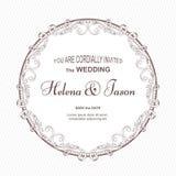 典雅的邀请的葡萄酒圆的明信片对婚礼,与一件被吹奏的装饰品的白色颜色 装饰品在Vict被做 免版税库存图片
