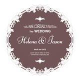 典雅的邀请的葡萄酒圆的明信片对婚礼,棕色与过滤器装饰品 装饰品在维多利亚女王时代被做 图库摄影