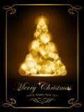 典雅的金黄圣诞卡 免版税图库摄影
