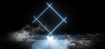 典雅的长方形塑造霓虹萤光减速火箭的激光的烟带领了在地下霍尔难看的东西的展示阶段充满活力 皇族释放例证