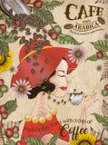 典雅的阿拉伯咖啡咖啡豆广告 皇族释放例证
