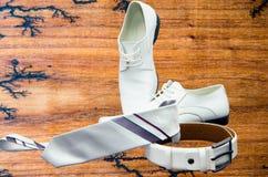典雅的集合:领带,人` s鞋子,皮带 免版税库存照片