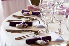 典雅的餐馆桌集合 库存图片