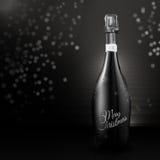 典雅的香槟瓶圣诞快乐 免版税库存图片