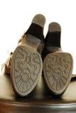 典雅的黑色启动鞋底  免版税库存照片