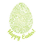 典雅的贺卡用有花边的复活节彩蛋 免版税库存图片