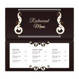典雅的水平的餐馆菜单模板 它在与叶子装饰品的维多利亚女王时代的样式被执行 有白色颜色的布朗 免版税库存图片