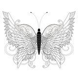 典雅的蝴蝶着色页 库存例证