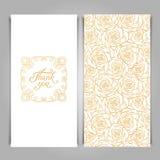 典雅谢谢拟订与金黄无缝的花卉patt的模板 免版税库存照片