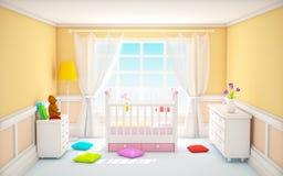 经典婴孩室灰棕色 库存图片