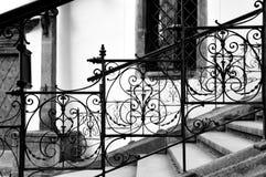 经典锻铁台阶在捷克克鲁姆洛夫,捷克语 库存图片