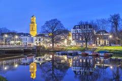 兹沃勒在晚上,荷兰 免版税库存照片