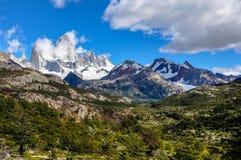 费兹罗伊峰顶, El Chalten,阿根廷 免版税库存图片