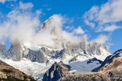 费兹罗伊峰顶, El Chalten,阿根廷 库存照片
