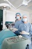 兽医外科医生在手术室 库存照片