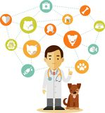 兽医被设置的医生和象 免版税库存图片