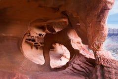 内华达火国家公园谷  砂岩侵蚀造成的有趣的形成  图库摄影