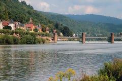 内卡河和水坝 德国海得尔堡 免版税库存照片