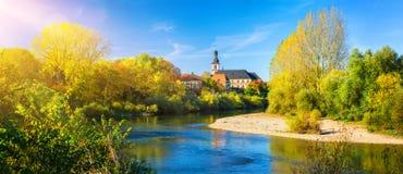 内卡河,德国,在一好秋天天 免版税库存图片