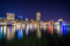 内在港口地平线在晚上,在巴尔的摩,马里兰 免版税库存照片