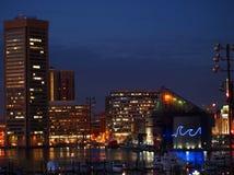 内在港口巴尔的摩夜 免版税库存图片