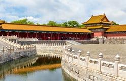 内在金黄水河在故宫,北京 免版税库存照片