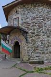 内在围场看法有老中世纪教会的在被恢复的门的内哥罗或Giginski修道院里 免版税图库摄影