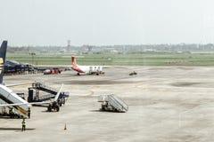 内塔吉・苏巴斯・钱德拉・鲍斯国际机场杜姆杜姆机场,加尔各答印度2018年12月25日-在观点的Netaji里面苏巴斯 免版税库存照片