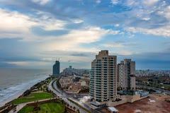 内塔尼亚市,以色列风景看法  库存图片