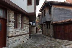 内塞伯尔,保加利亚- 2017年2月05日:保加利亚房子在内塞伯尔镇  在1956年内塞伯尔被宣称当博物馆城市, a 库存图片