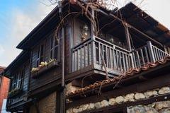 内塞伯尔,保加利亚- 2017年2月05日:保加利亚房子在内塞伯尔镇  在1956年内塞伯尔被宣称当博物馆城市, a 免版税库存图片