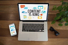 内容是国王seo搜索引擎优化和内容marke 库存照片
