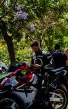 内尔哈,西班牙- 2018年6月10日摩托车集会在著名安达 库存照片