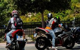 内尔哈,西班牙- 2018年6月10日摩托车集会在著名安达 库存图片